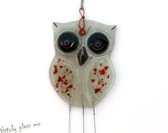 Fused  Glass owl suncatcher ,  Windchime