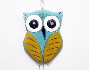 Fused Glass art  Aqua yellow Owl  Windchime -  suncatcher