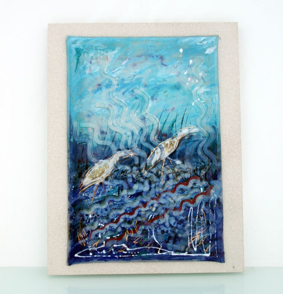 Fused glass painting wall hanging  blue herons