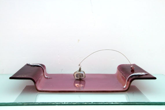 Fused Glass Painted Napkin Holder from Etsy
