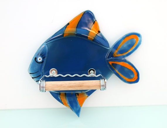 Fused glass blue fish  shaped toilet paper holder