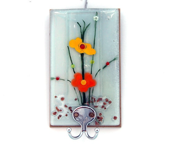 Wall Art Fused Glass : Fused glass wall hanging panel spring color decor