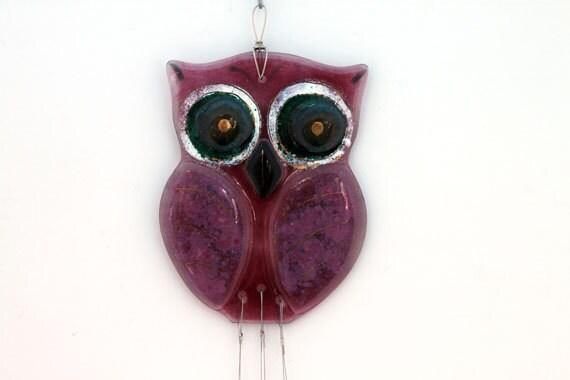 Pink Owl  Windchime mobile , fused Glass garden artwork suncatcher