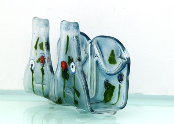 Blue napkin holder eco friendly fused glass melted recycled - How do you melt glass bottles ...