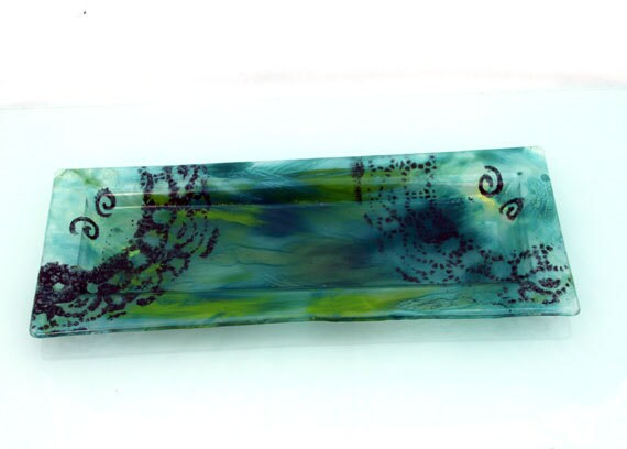 Fused Glass Tray, Turquoise and Green background.