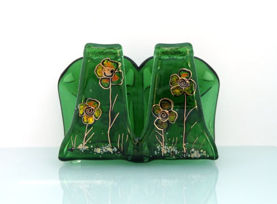 napkin holder - Fused Glass Melted recycled  green Beer  Bottle