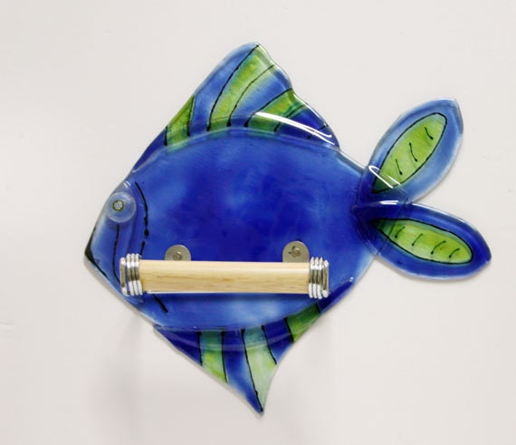 Fused glass blue  & green fish  shaped toilet paper holder