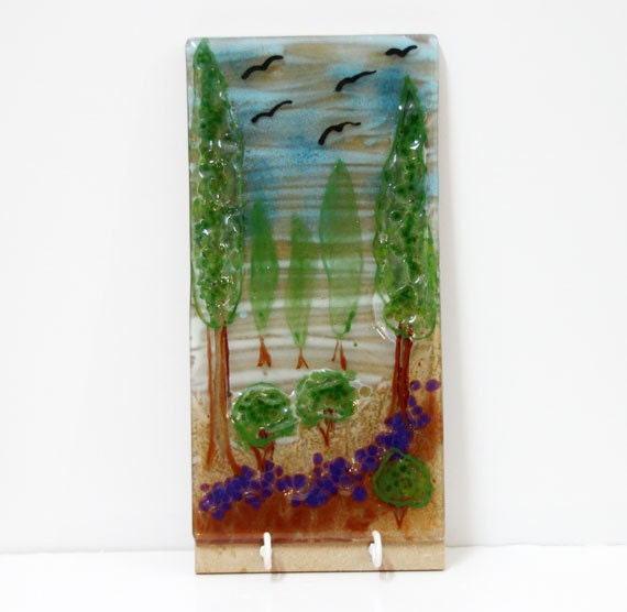 wall  Hanging  panel,  Fused glass art wall decor woodland landscape