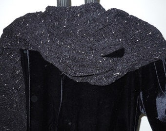 SHAWL-HANDWOVEN black with gold flecks