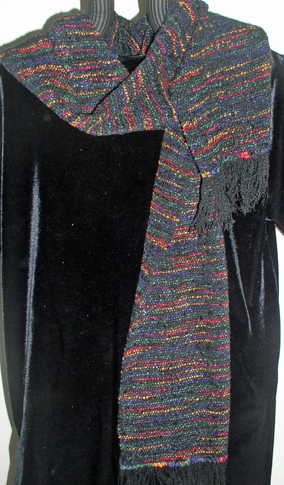 Scarf, Handwoven, Black with Variegated Jewel-Colored Yarn
