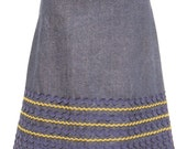 Denim skirt with green\/blue ric rac (S)