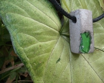 Concrete Pendant - Natural gray  recycled green glass aggregate urban fossil