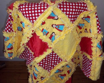 Little Red Riding Hood Baby Blanket / Raggedy Quilt