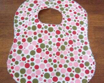 Pink and Green Polka Dot Bib