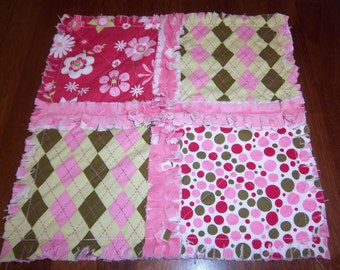 Pink and Green Mini Security Blanket \/ Raggedy Quilt