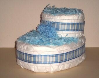 Blue Baby Bootie Diaper Cake