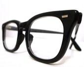 Reserved, SAle, Vintage 60s USS Black Horn Rimmed Eyeglasses Size 48  22 , Classic Mad Men Birth Control Prescription Eye Glass Frames