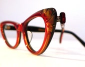 Ruby Red and Honey Dipped Carved Cat Eye Frames, Mad Men Eyeglasses or Sunglasses, Golden Black Accents, NOS