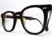 SALE // Vintage Black Horn Rimmed Eyeglasses Frames, Classic Mad Men Larger 46-24 Prescription Sunglasses, Round-er