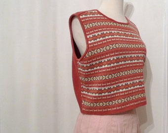 Argyle Sweater Vest/ Cotton Cropped Top/ Medium // New Wave Nordic Pattern Preppy Pullover 80s Street sale