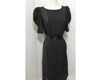 Vintage 70s Sheer LBD /  Black Sheath Dress / PinStripes / Pouff Sleeves / Women Med.