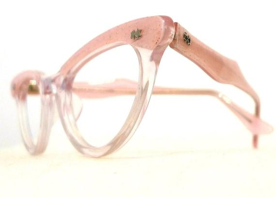 vintage pink sparks eyeglasses frames rockabilly confetti n clear horn rimmed sunglasses