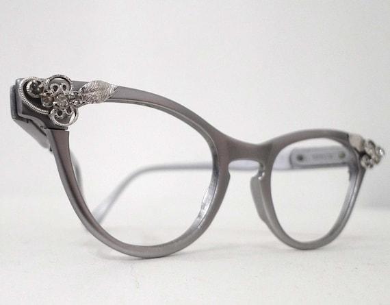 REserved Cool Matte Aluminum  Cat Eye Eyeglass Frames, 1950s 1960s, Rhinestones. Slightly Larger Cat Eye Frame