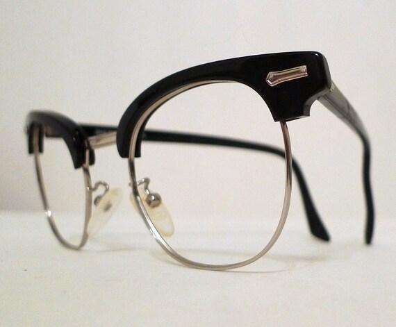 Black Shuron Clubmaster Frames, Recherche 48-22 Horn Rimmed Combination Metal Eye or Sunglasses, Mad Men Unisex Medium Eye Glasses,