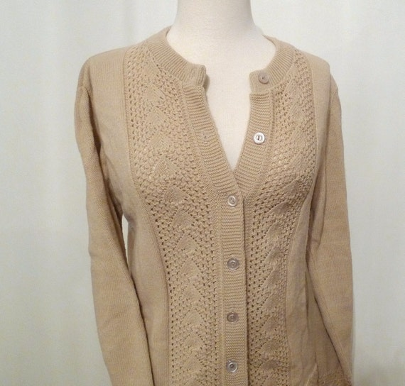 Vintage Taupe Cardigan Sweater, Champagne Knit NonWool Tan Button-down Jumper