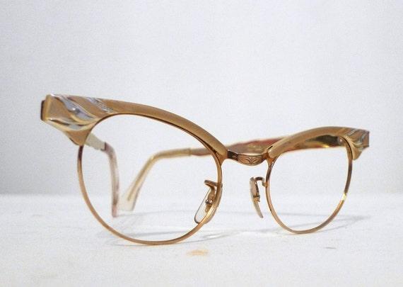 Goldtone Champagne Aluminum Cat Eye Eyeglasses Frames, Sunglasses, 2Tone 1950s 1960s Titmus NOS 12k GF