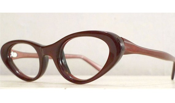 Rose Mahogany Titmus Eyeglasses Frames, Garnet Cat Eye Horn Rimmed Eye Glasses or Sun Glasses, NOS