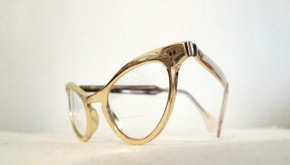 Golden High-Gloss Aluminum Cat Eye Frames, Distinctive Winged Vintage Eyeglasses, Chrome-y Sunglasses