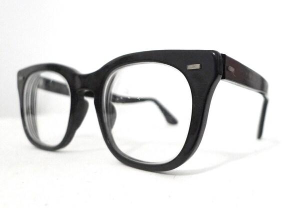 BIGger Black Horn Rimmed Eyeglasses, 50 - 22 Classic USA Mad Men 1960s Birth Control Frames