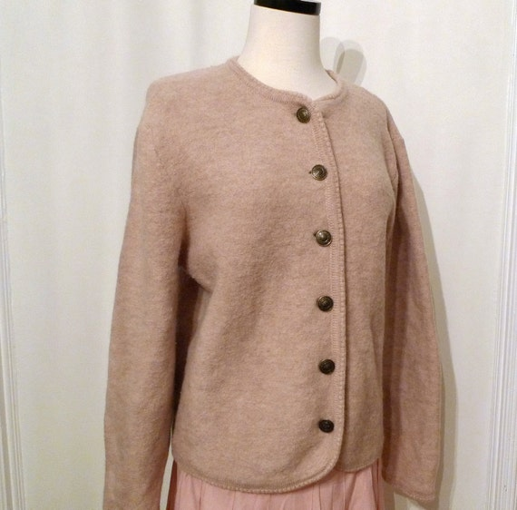 Taupe Wool Cardigan, Wool Button-Down Jacket, Goes With Everything