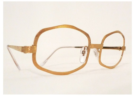 SALE // Larger 24K Gold Plate Golden Eyeglasses or Sunglasses, Frame Italy, Metallic Shimmer Precious Metal