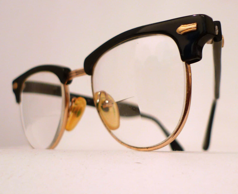 Larger Black Clubmaster Style Frames Combination Eyeglasses