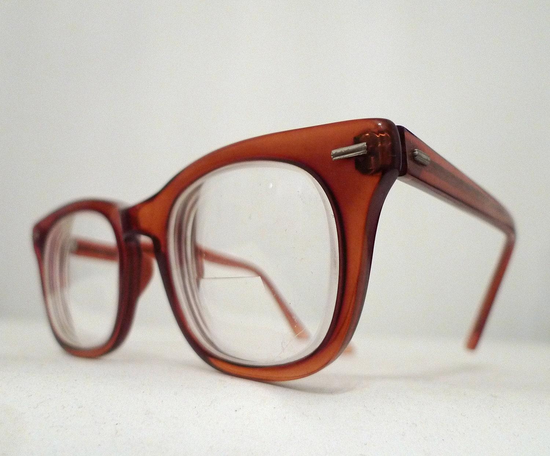 Vintage Shuron Eyeglasses Frames in Glowing Whiskey Cognac