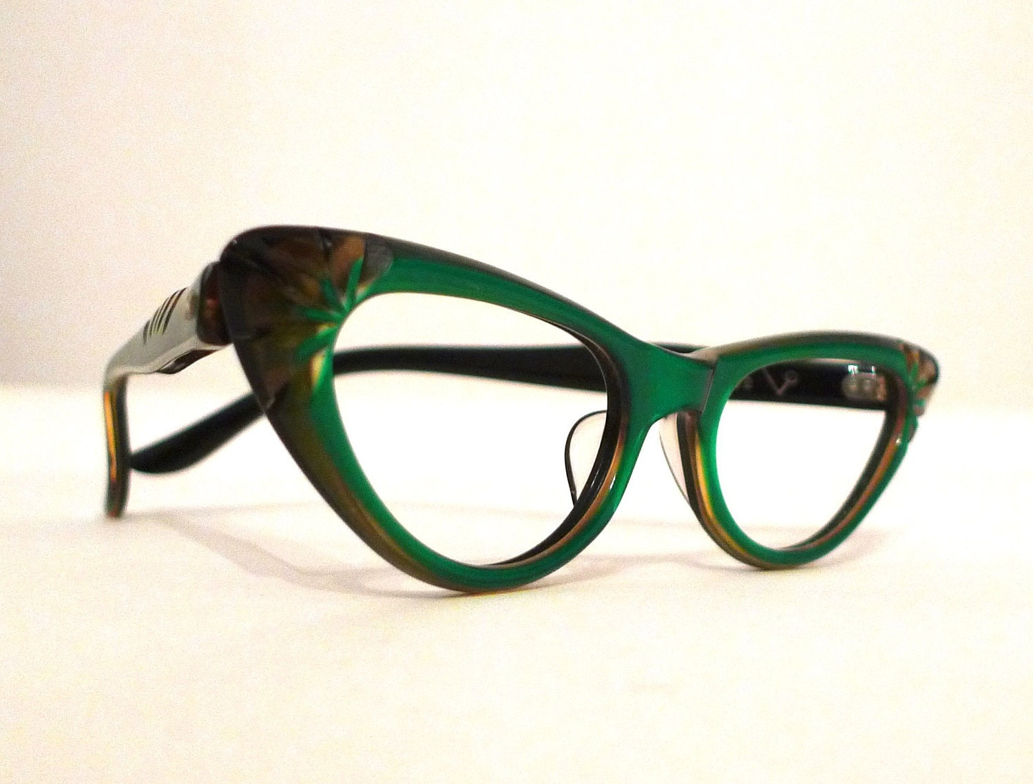 Eyeglass Frames Green : Emerald Green and Honey Dipped Carved Horn Rimmed Cat Eye
