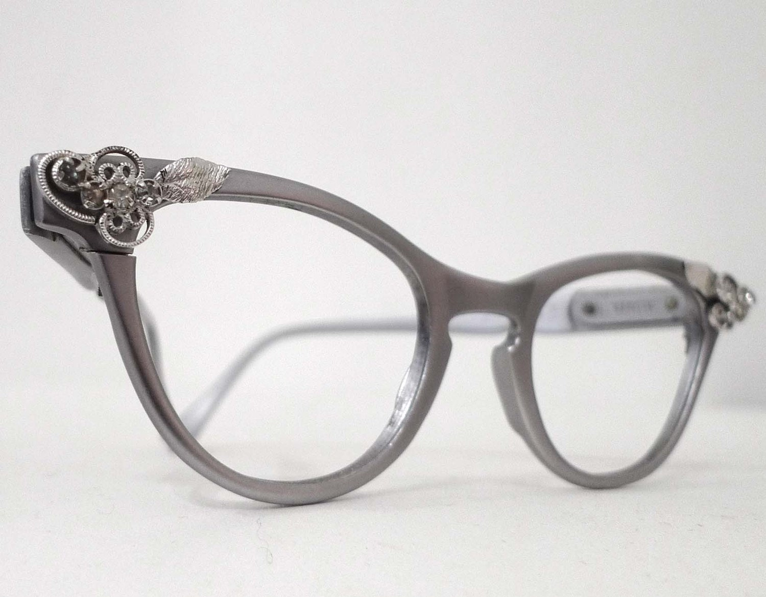 REserved Cool Matte Aluminum Cat Eye Eyeglass Frames 1950s