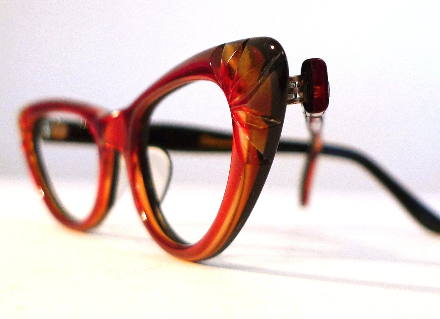 Ruby Red and Honey Dipped Carved Cat Eye Frames Mad Men