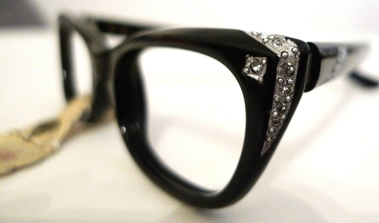 SAfilo NOS Black Cat Eye Frames Italy Eyeglasses Horn
