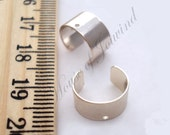 40 Silver Plated Ear Cuffs Findings w/ Hole for Charms Beads 6mm