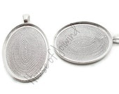 30x40mm Shiny Silver plated Oval Cameo Pendant Tray Setting Deep Well - 10 Pieces