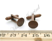 6 Pair (12 pieces) Cufflinks Backs Bases with 10mm Glue Pad ANTIQUED COPPER