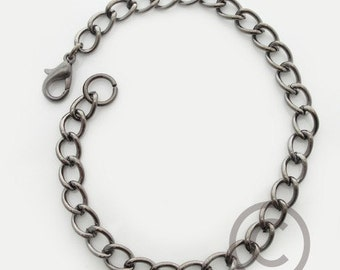 Lot of (10) Gunmetal Curb Chain Charm Bracelet 7.5-8.5 inches