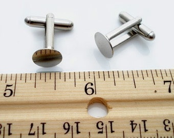 12 Pieces (6 Pairs) CUFFLINKS Cufflink Blanks Backs Bases with 10mm Glue Pad Silver Tone
