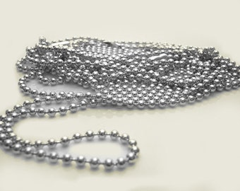 "10 Pieces Shiny SILVER PLATED 24"" Ball Chain Necklace with Connectors - 2.4mm Bead - Perfect for Scrabble, Glass Tile Pendants"