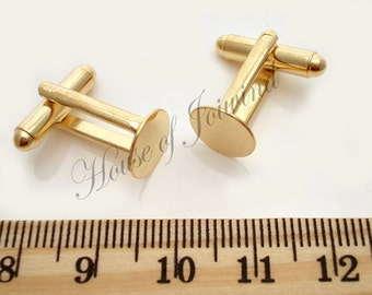 12 Pair (24 pieces) Cufflinks with 10mm Glue Pad GOLD Plate
