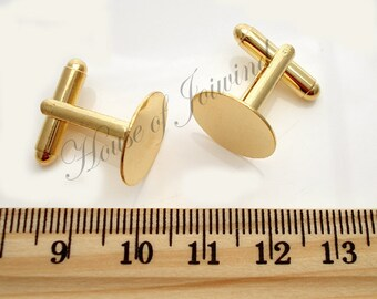 6 Pair (12 pieces) Cufflinks with 15mm Glue Pad Gold Plate