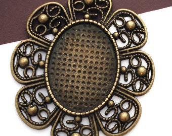 Filigree Antique Brass 22x30mm Pendant Tray Cameo Setting - 10 Pieces